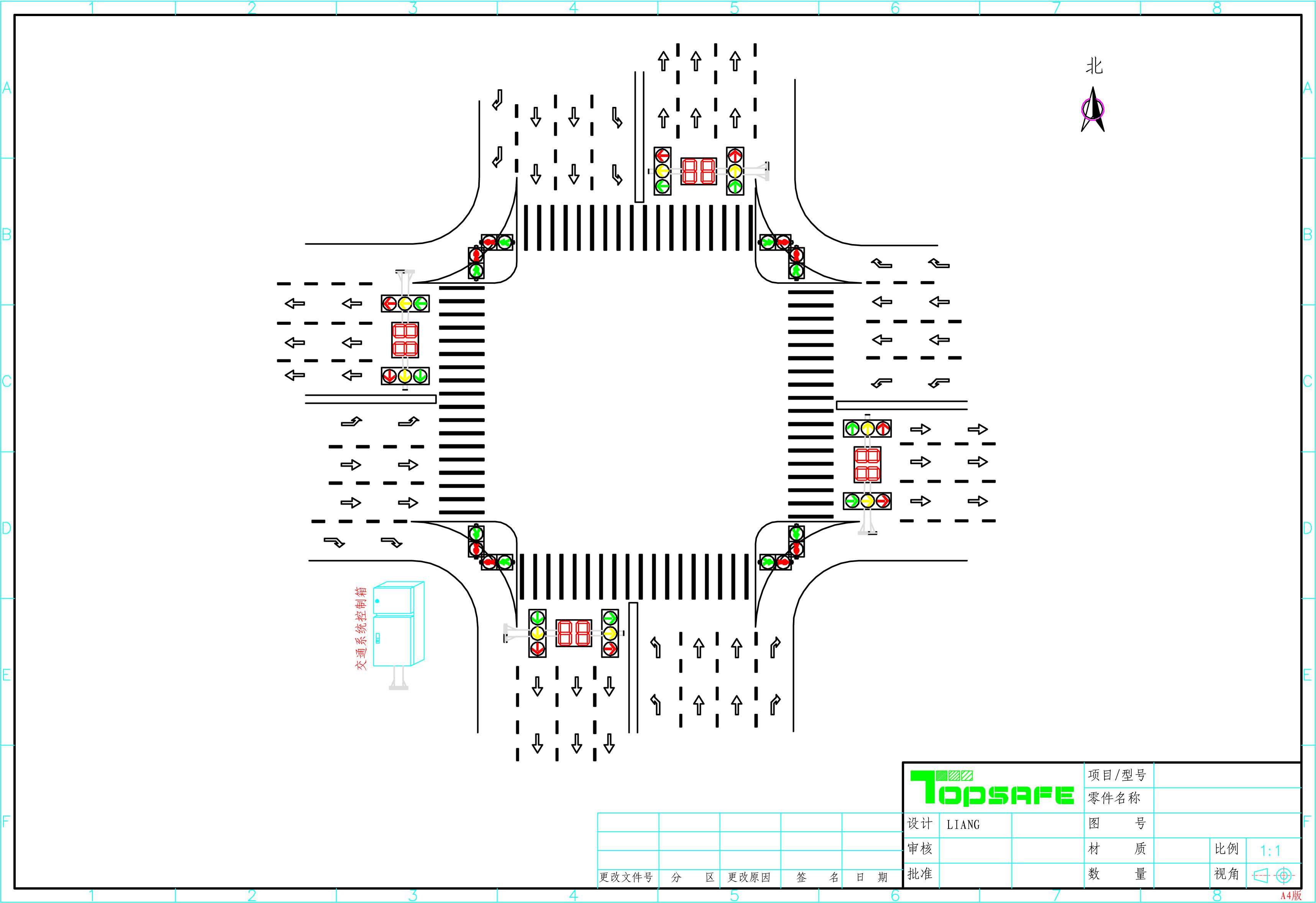 概述 近年来,随着经济发展,营运车辆拥有量的增加使道路市场必须规范有序,交通安全管理必须上一新台阶。按照高起点规划,高标准建设,高效能管理的思路,坚持把城市化作为城市经济的一大战略来抓,积极建设城区交通基础设施工程,建立交通安全管理网络。严格抓好交通管理,以加强交通队伍建设和行业文明建设。针对交通拥堵、交通秩序乱、易发生交通事故等的现状为出发点而对这些路口的信号灯系统进行增设。 1、设计依据 GA/T47-93 《交通信号机技术要求与测试方法》 GB 25280-2010 《道路交通信号机标准》 GB1