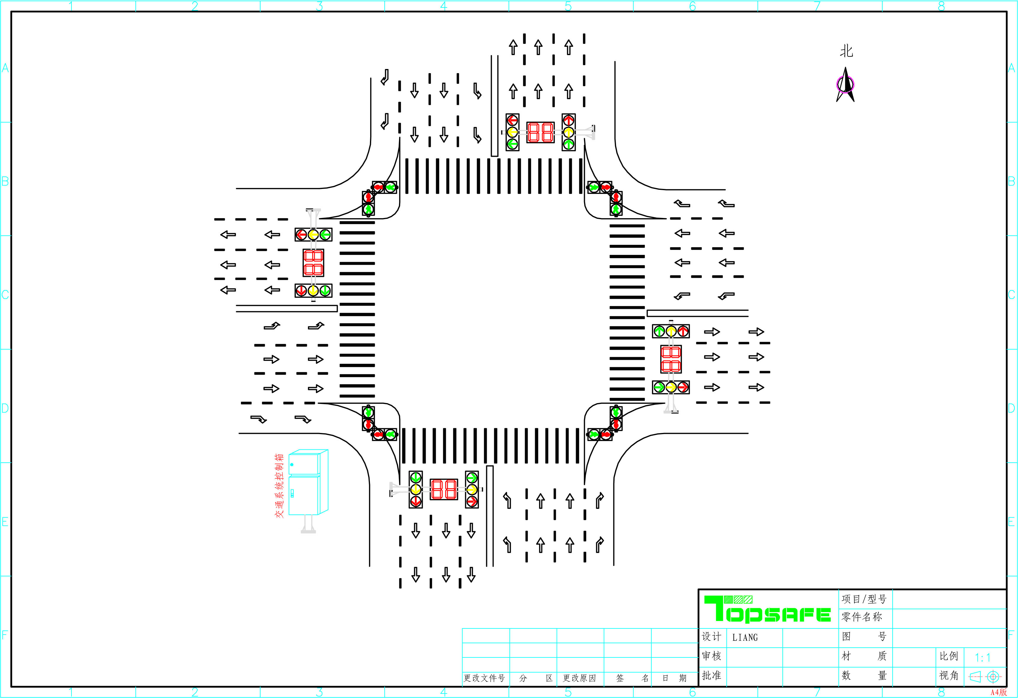 led交通信号灯十字路口设计方案图片